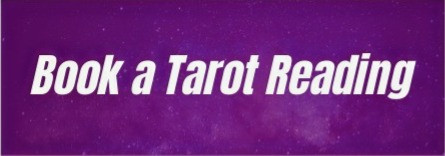 """Bold white text on a purple field of stars reads """"book a tarot reading""""."""
