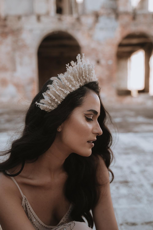 Eclectic boho Elopement Unique Headpiece & makeup