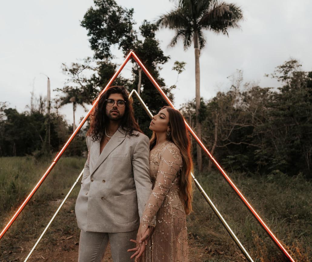 Neon Triangle Elopement in Hacienda siesta alegre