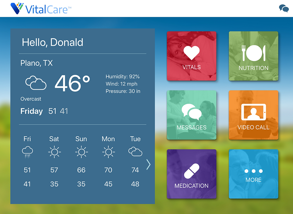Home screen of VitalCare remote patient monitoring platform.