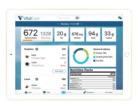 VT - Vital Care ipad - Nutrition Screen