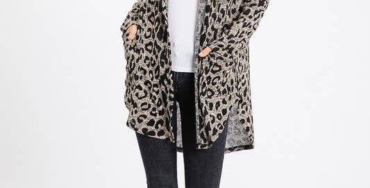 Animal Print Hooded Cardigan