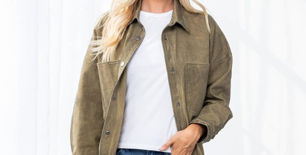 Oversized Mineral Washed Denim Jacket