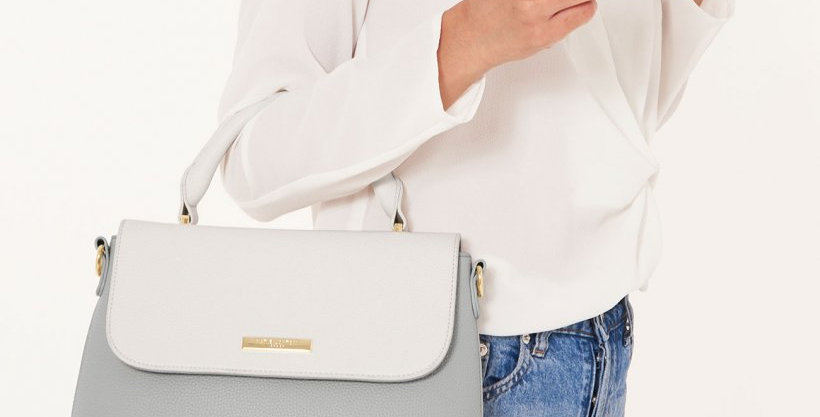Talia Two Tone Messenger Bag - White/Pale Grey