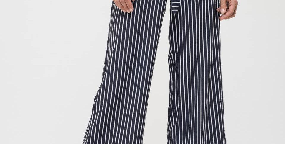 Striped Wide Leg Pants w/Belt