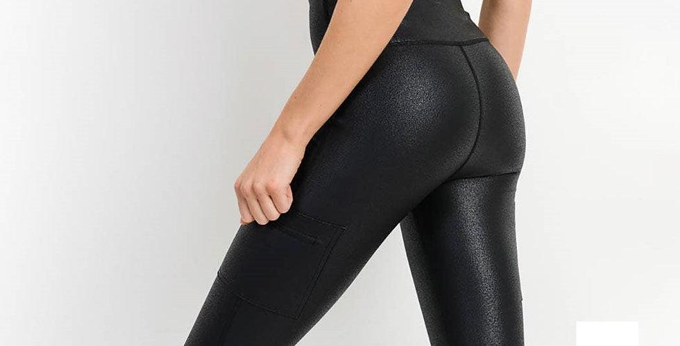 Pocket Foil Leggings - Black