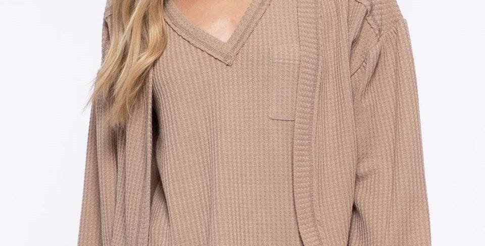Waffle Knit Cardigan