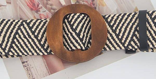 Woven Straw Wooden Buckle Belt