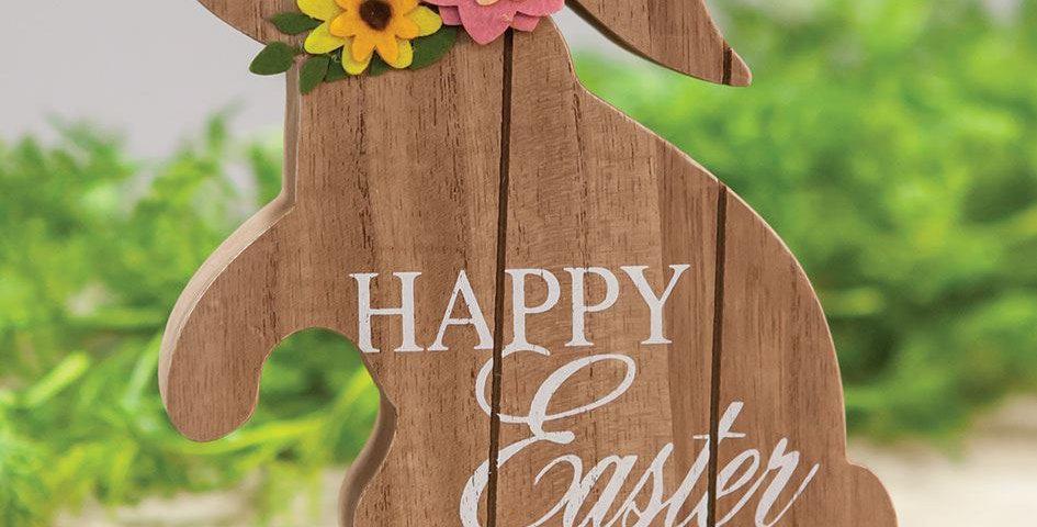 Happy Easter - Wooden Standing Bunny