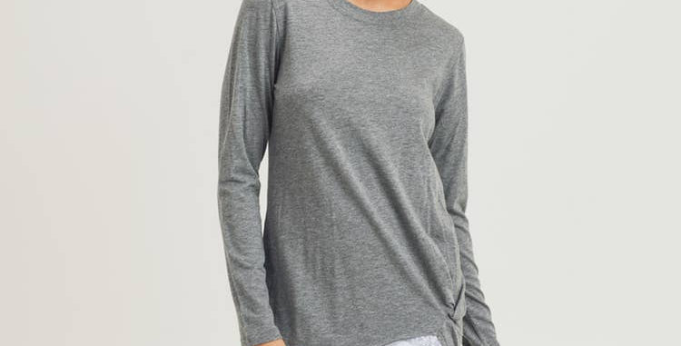 Gathered Front Pullover - Heather Grey