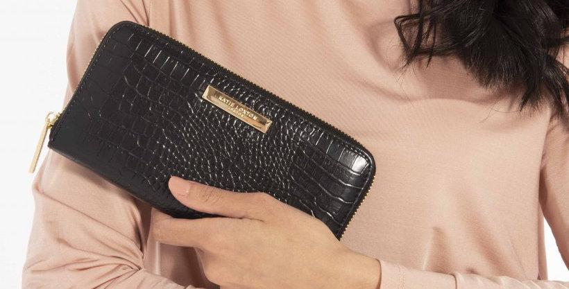 Celine Large Croc Wallet - Black