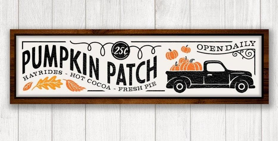 "10""x30"" Fall Pumpkin Patch Sign October 10th"