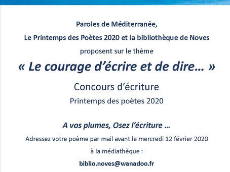 Concours de poésie à NOVES : répondez avant le 12 février 2020
