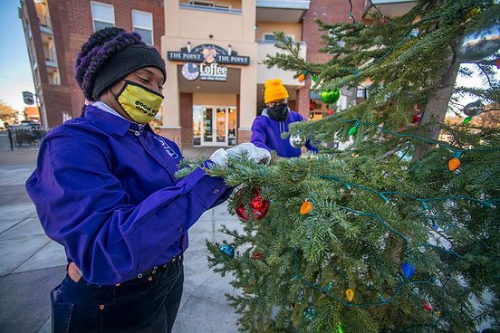CSG employees decorating public tree with holiday lights