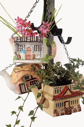 Handy Hobbits Hanging Teapot Planters Handcrafted Recycled Upcycled Home and Garden gifts and ideas