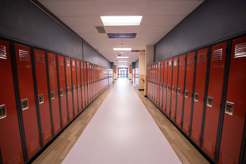 High touch surfaces in a school hallway