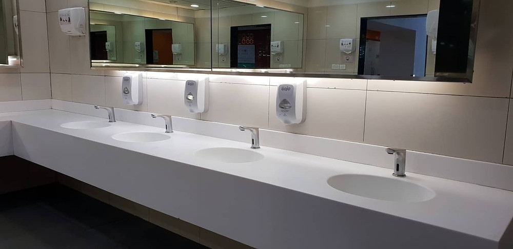 High touch surfaces in a school washroom