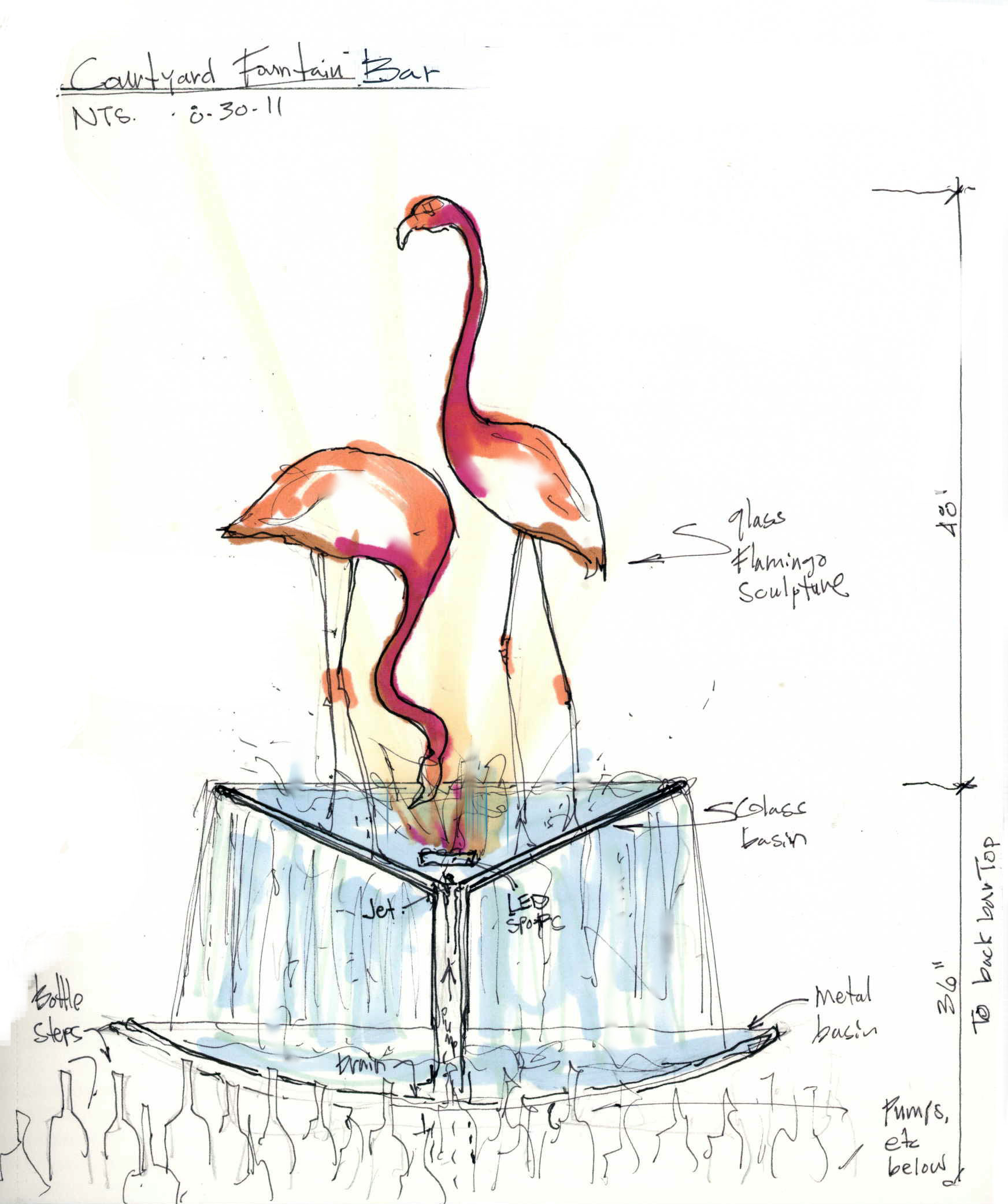 Glass Flamingo concept at Center Bar