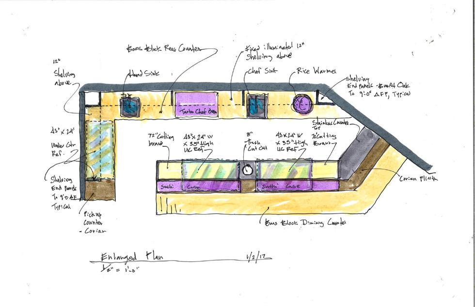 Sushi Koya - Enlarged Plan at Bar