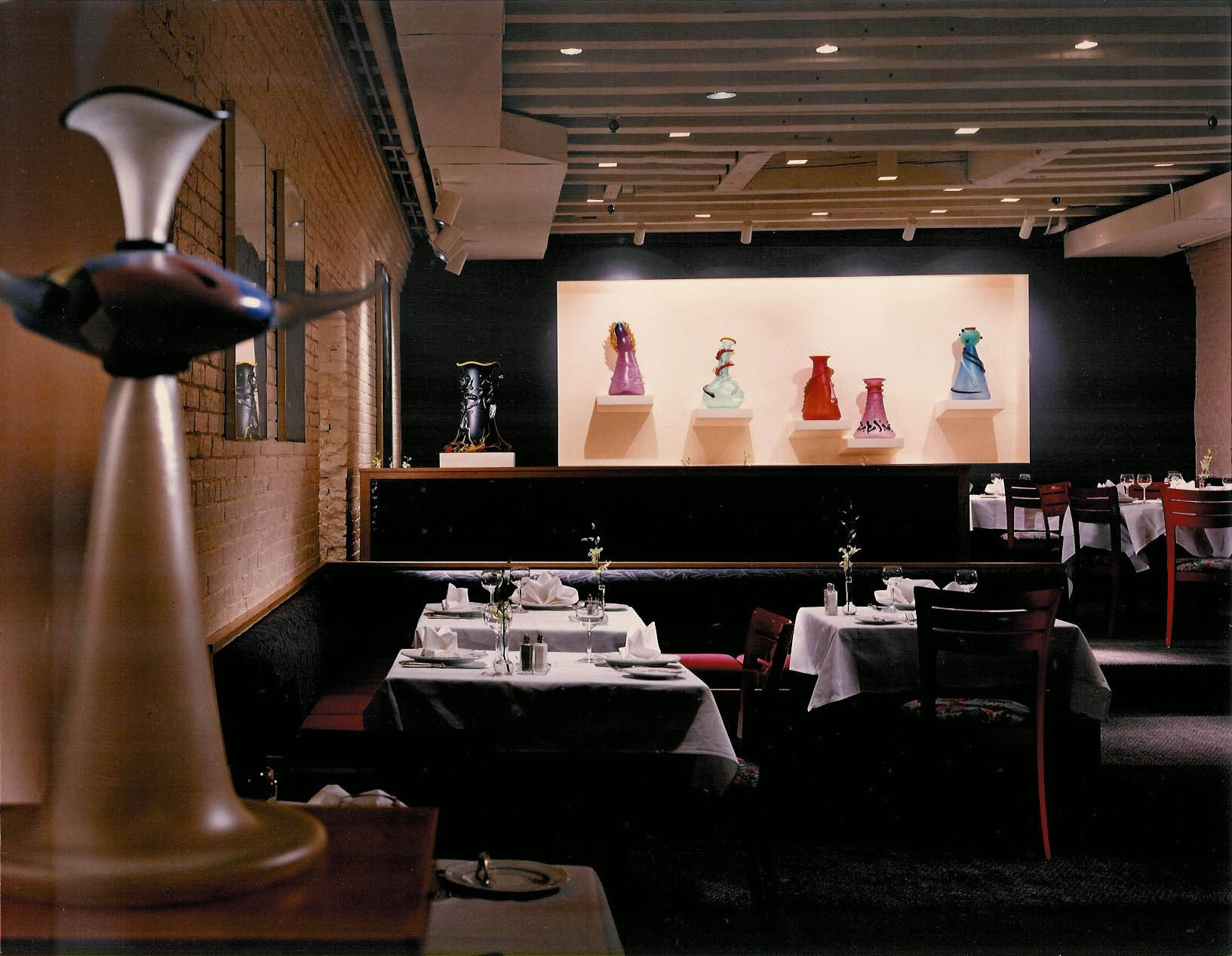 Dining Room with glass sculptures by Dan Dailey