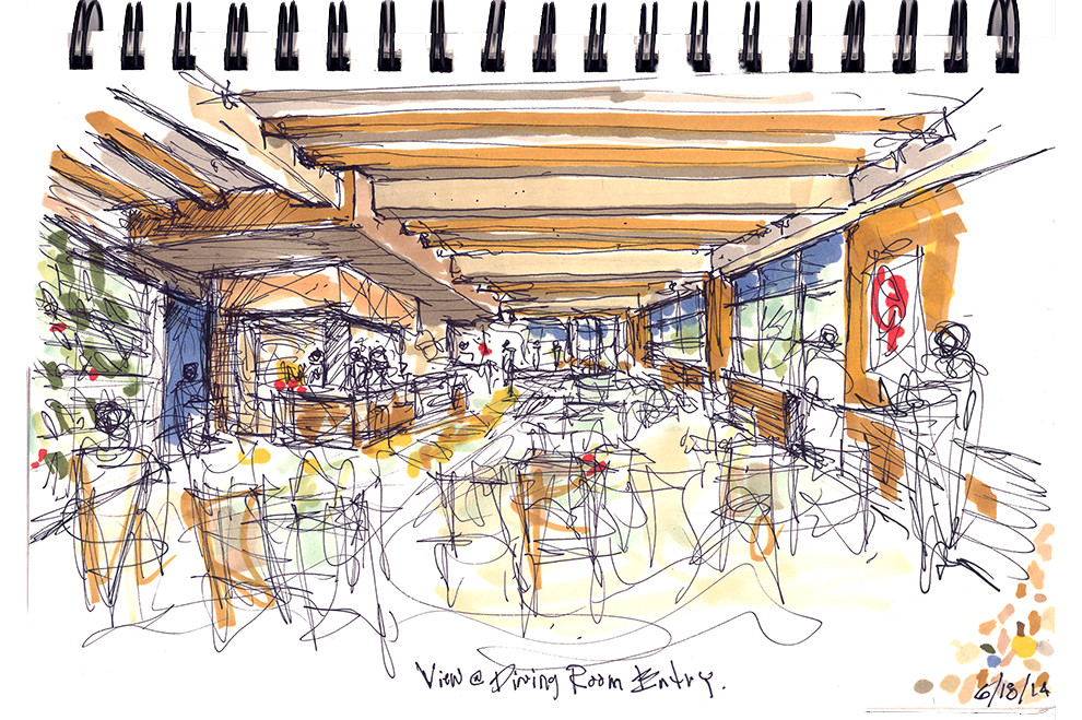 Dining Room Sketch with wood beam ceiling