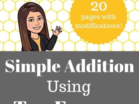 Simple Addition Using Ten Frames Worksheets