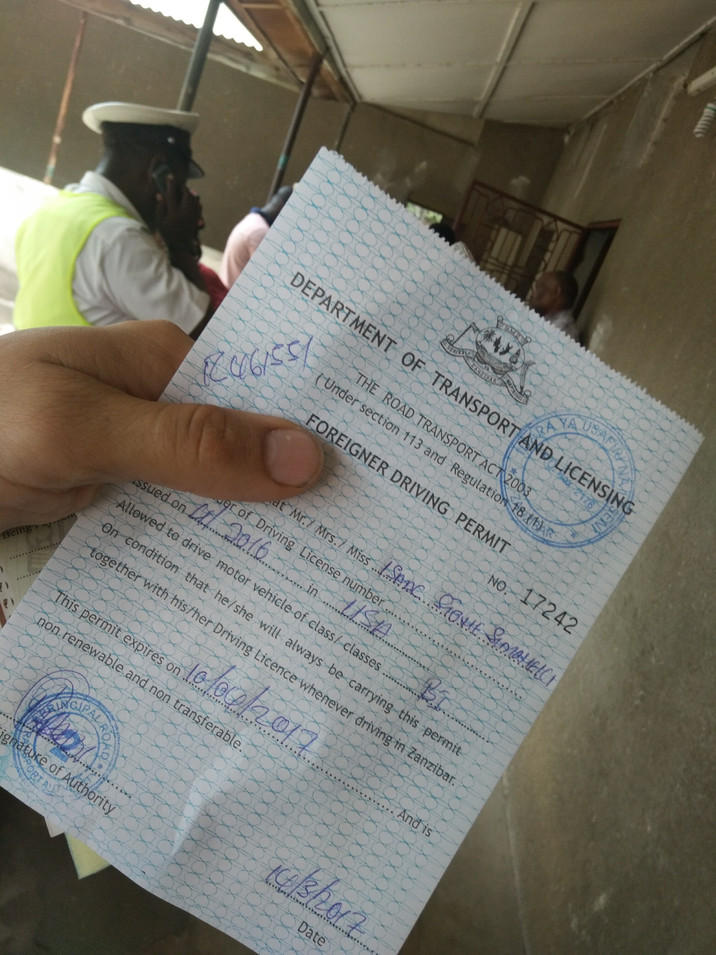Day 312: Securing Zanzibar Driving Permit Can Be That Easy