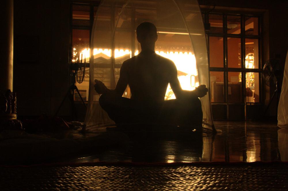 Isaac meditating in Myanmar