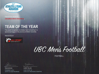 UBC Football wins Team of the Year