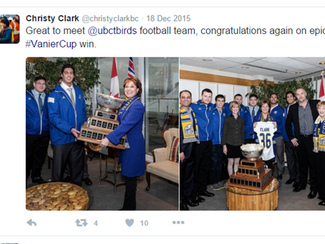 UBC Football Team meets Premier Christy Clark