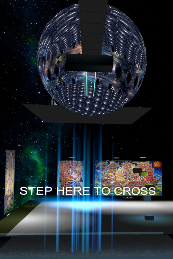 Moshsa VR Gallery portal: step here to cross