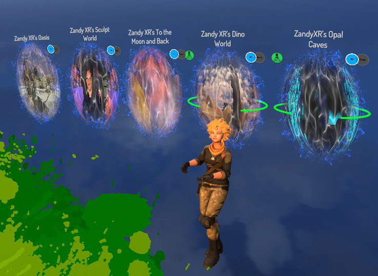 Portals to Zandy XR's worlds in VRChat