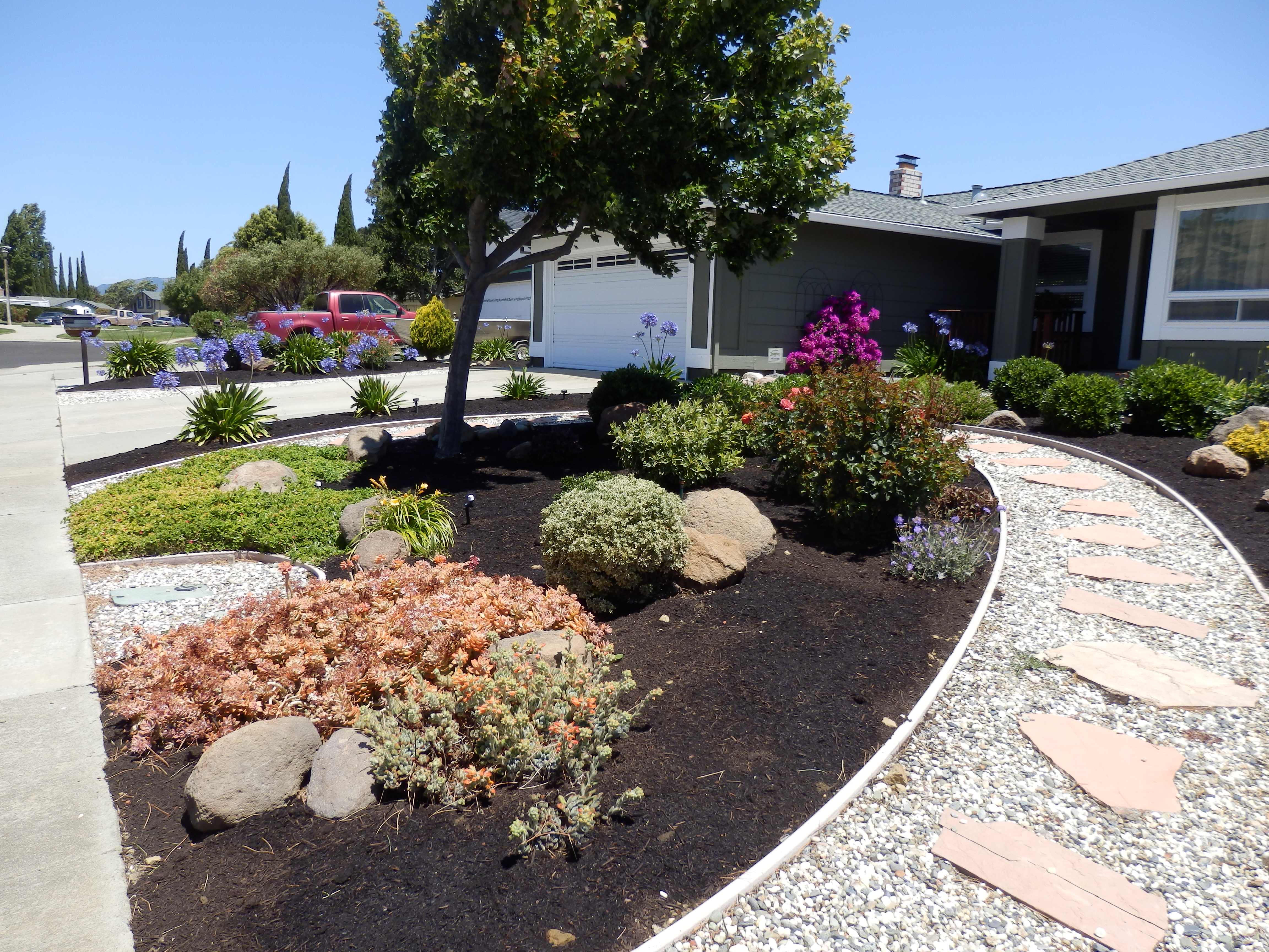 stone path and landscaping