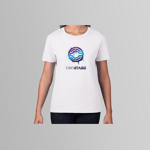 Criostasis Purple Logo Ladies T-Shirt (White/Black)