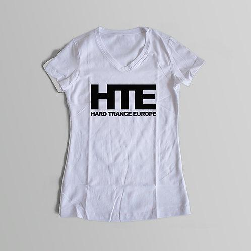 HTE Ladies V-Neck T-Shirt (White)