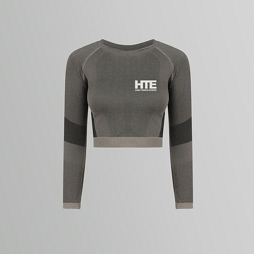 HTE Panelled Sleeve Crop Top (Grey)