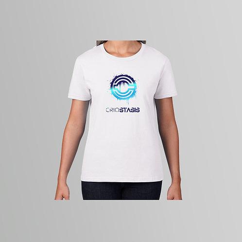 Criostasis Blue Logo Ladies T-Shirt (White/Black)