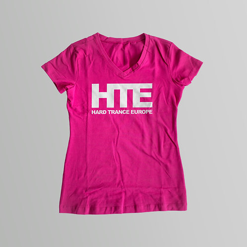 HTE Ladies V-Neck T-Shirt (Pink)