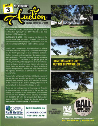 NO RESERVE REAL ESTATE AUCTION: Home on 3 AC - Pawnee, OK