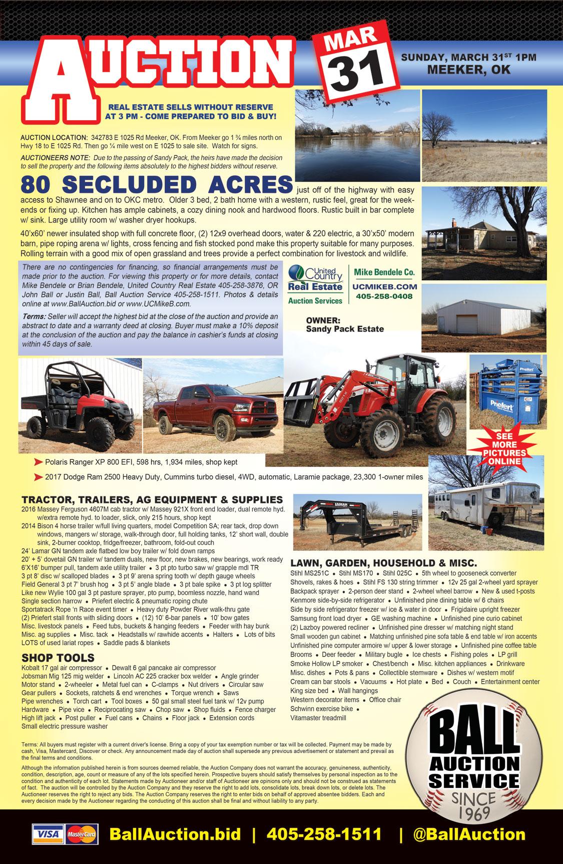 ESTATE AUCTION: 80ac - home- shop - tractor - Dodge Truck - Polaris Ra