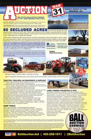 ESTATE AUCTION: 80ac - home- shop - tractor - Dodge Truck - Polaris Ranger