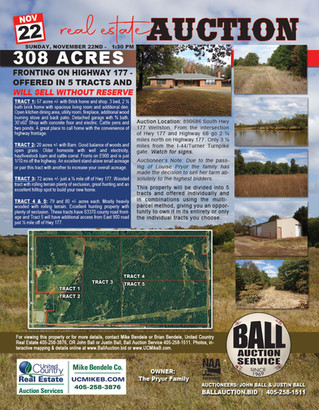 No Reserve Real Estate Auction: 308 Acres Fronting on Highway 177 - 5 Tracts & Combinations