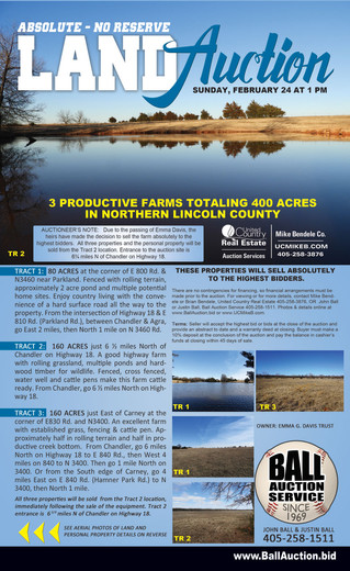 ESTATE AUCTION: 3 Productive Farms in Northern Lincoln County, OK - Tractor, Hay