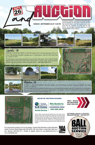 NO RESERVE REAL ESTATE AUCTION: 7 TRACTS OFFERED INDIVIDUALLY & IN COMBINATIONS