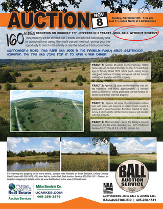 Real Estate Auction: 160AC fronting Hwy 177 offered in 3 tracts