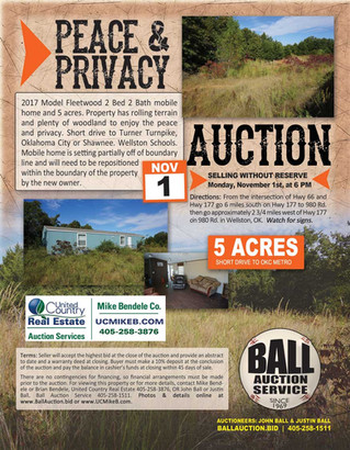 NO RESERVE REAL ESTATE AUCTION: Peace & Privacy on 5 Acres