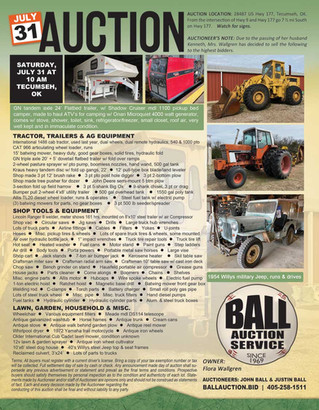 AUCTION: Tractor, Trailers, Jeep Willys, Equipment