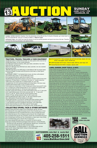 AUCTION: RTV, Mule, 4Wheeler, Tractors, Backhoe, Equipment, Tools, Spurs, More!