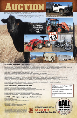 AUCTION: SATURDAY, February 13 at 10 AM, in AGRA, OK * Don't be late! No junk! *