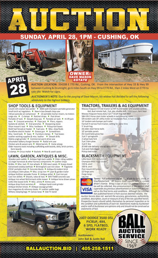 ESTATE AUCTION: Tractor, Trailer, Truck, Blacksmith Equipment